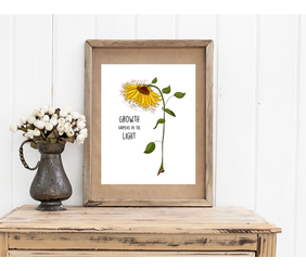 Sunflower Digital Illustration with Quote