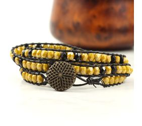Black leather bracelet with small glass beads