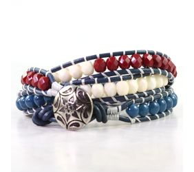 Red white and blue bracelet with silver star button