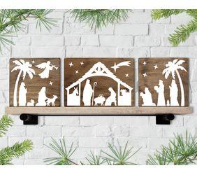Christmas Manger Scene Trio Signs