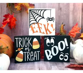 Trick or Treat, EEK!, BOO! Halloween Mini Wood Sign Trio