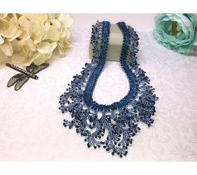 Blue Fringe Beadweaving Necklace