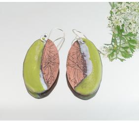 Queen Anne's Lace Enameled Copper Penny Earrings