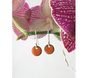Tiny Orange Copper Enamel Dot Earrings