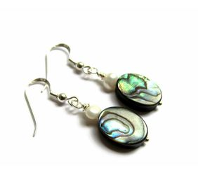 Oval Pearl and Abalone Dangles