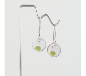 Tiny Chartreuse Copper Enamel Dot Earrings