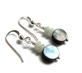 Abalone and Amazonite Earrins