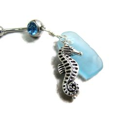 Seahorse and aqua beach glass Belly button piercing