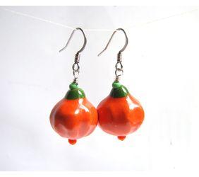 orange pumpkin dangle earrings