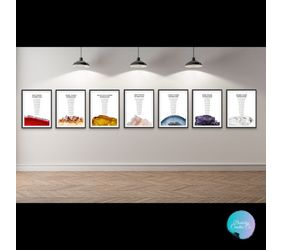 Seven chakra crystal affirmations poster hanging on a wall.