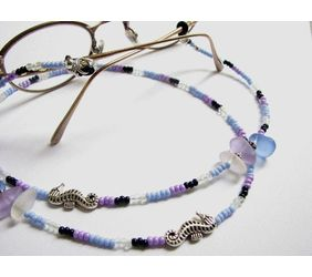 Seahorse and sea glass eyeglass chain