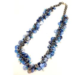 Blue Shaggy Loop Chainmaille Necklace