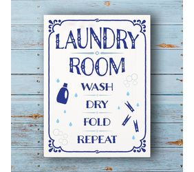 Laundry Room, Wash Dry Fold Repeat Sign
