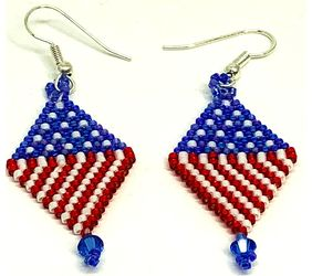 Red White Blue Diamond Earrings