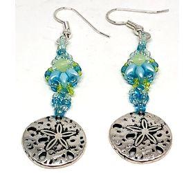 Handmade Blue Green Shell Sand Dollar Earrings