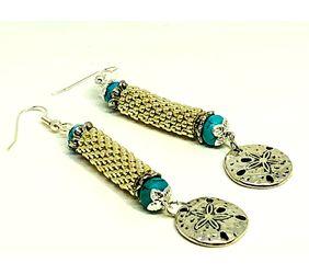 Handmade Silver Turquoise Sand Dollar Beadweaving Earrings