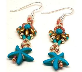 Handmade Turquoise Gold Silver Starfish Earrings