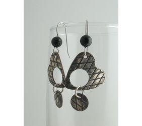Silver Heart and Black Onyx Earrings