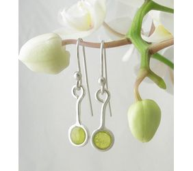 Plique-à-jour Enameled Fine Silver Earrings