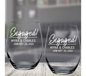 Personalized Engaged Wine Glasses