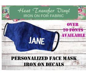 personalized name mask iron on decal