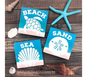 Beach, Sand & Sea Wood Sign Trio