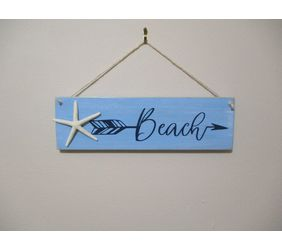Beach Arrow Wooden Sign with Starfish - Wall Hanging Beach Decor Sign. Melbourne Beach