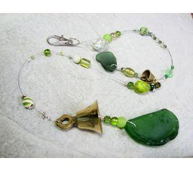 Green bead and sea glass sun catcher