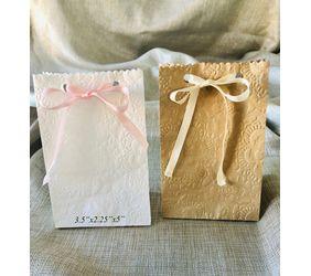 fancy flower embossed ribbon bags