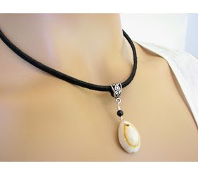 beautiful suede leather shell necklace