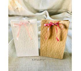 heart embossed ribbon favor bags