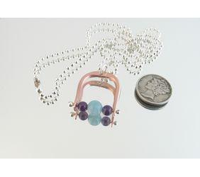 935 Argentium Sterling Silver, Copper & Amethyst & Aquamarine Horse Stirrup  Pendant Necklace