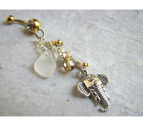 dangly tribal elephant belly ring