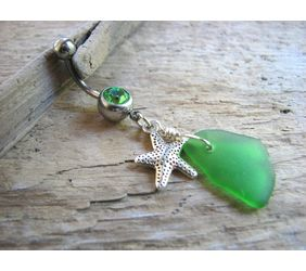 Genuine sea glass belly ring