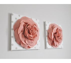 Two 3D Blush Rose Flowers on White with Taupe Polka Dot Canvases hanging on a wall