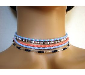 Colorful seed bead choker necklaces