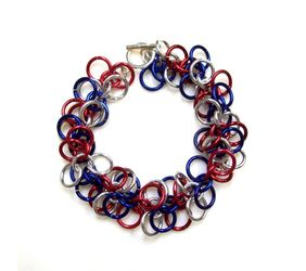 Chainmaille Shaggy Loops Bracelet, Red, Silver, and Blue