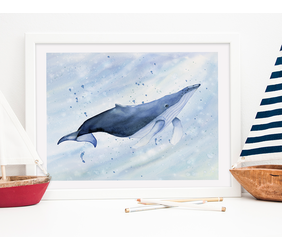 Blue Watercolor Whale Painting