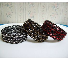 Chainmaille Helm Weave Cuff Bracelet, Stretch, Assorted Colors