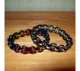 Chainmaille Helm Weave Bracelet, Stretch, Assorted Colors