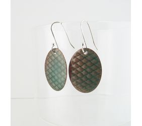 Textured Teal Enameled Copper Oval Earrings