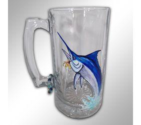 Hand Painted Marlin Beer Mug