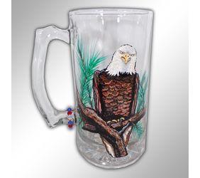 Hand Painted Eagle Beer Mug