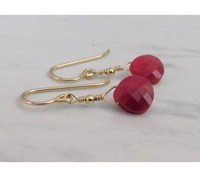 Genuine Ruby Drop Earrings in Gold