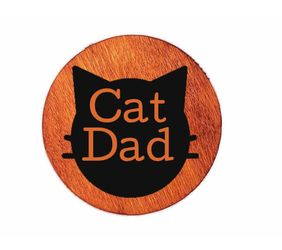 Personalized Wood Cat dad magnet