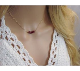 Dainty Ruby Choker, Simple Layering Necklace