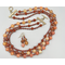 Necklace set   3-strand natural carnelian, vintage faux-stone lucite, freshwater pearls