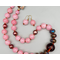 Necklace set | Bakelite amber focal, shiny raku rondelles, vintage rose quartz glass rounds, freshwater pearls