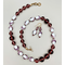 Necklace set   Opalescent lampwork ovals ringed in amethyst swirls, Cherry Brand amethyst glass rounds