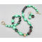Necklace set   Mid-century greens — givre multi-colored faceted rounds, turquoise green opaque nuggets and coins